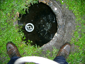 Fiberglass septic tank after pumping