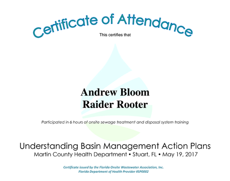 Basin management certification