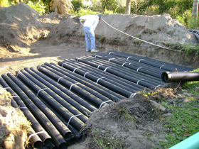 Installing a 420 sq. ft. gravity drainfield using multipipe material